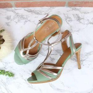 Lein Do Cielo Green Bronze Metallic Heels 7.5